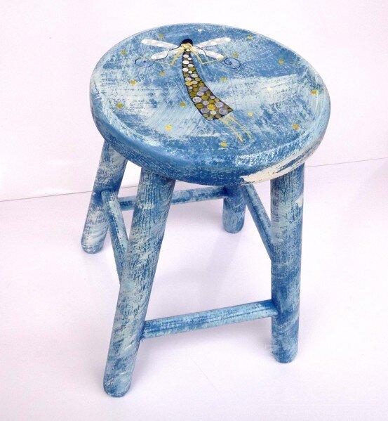 Dětská židlička – modrá – anděl