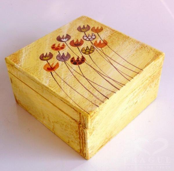 Dekorační krabice malá – žlutá – tulipány