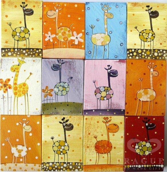 Dřevěný magnet – žirafa