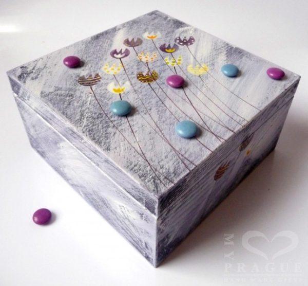 Krabice na čaj malá – fialová – tulipány