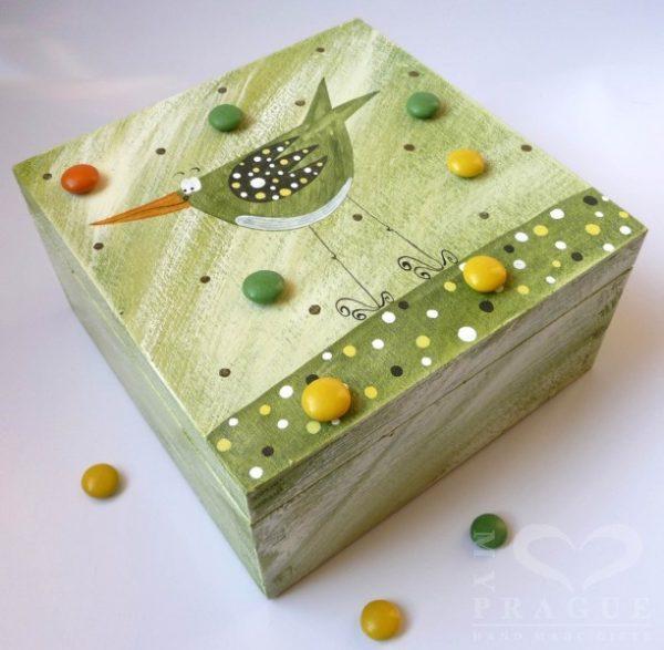Krabice na čaj malá – zelená – ptáček