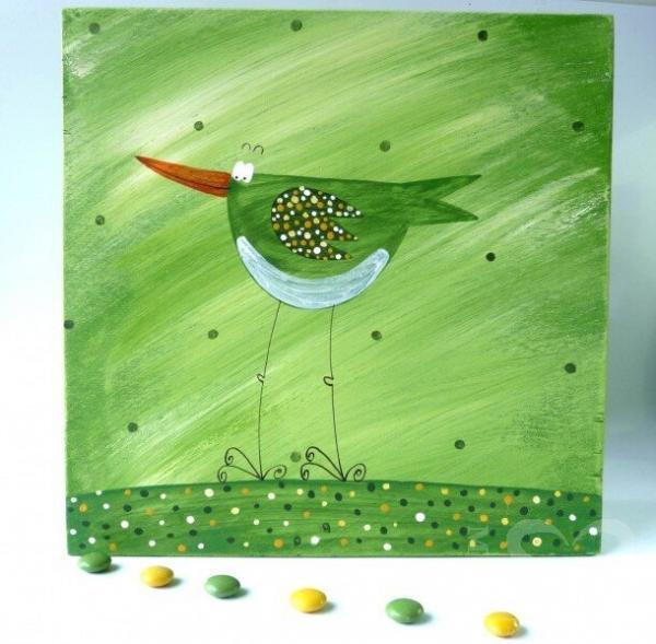 Krabice na čaj velká – zelená – ptáček