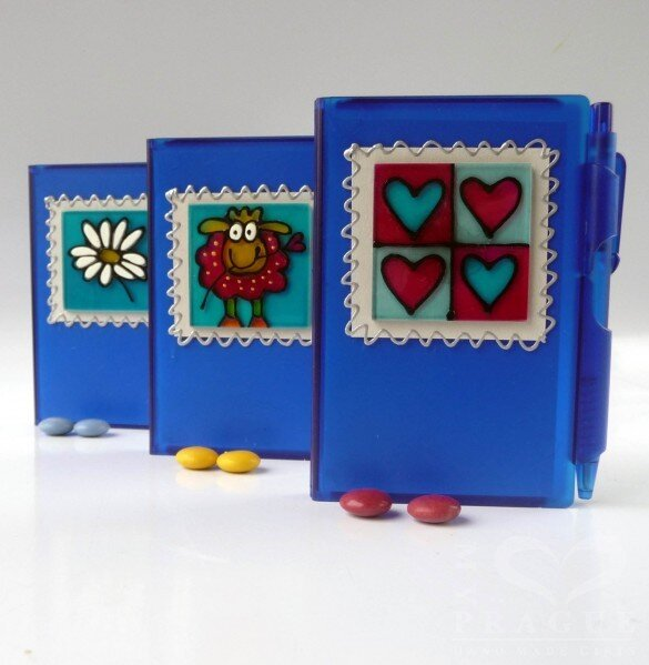 Zápisník – modrý – kopretina, ovečka nebo srdce