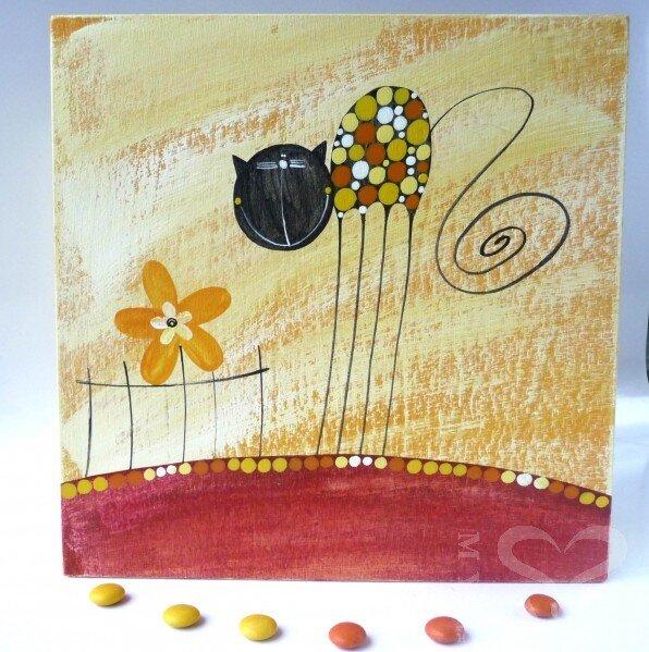 Krabice na čaj velká – žlutá – kočka