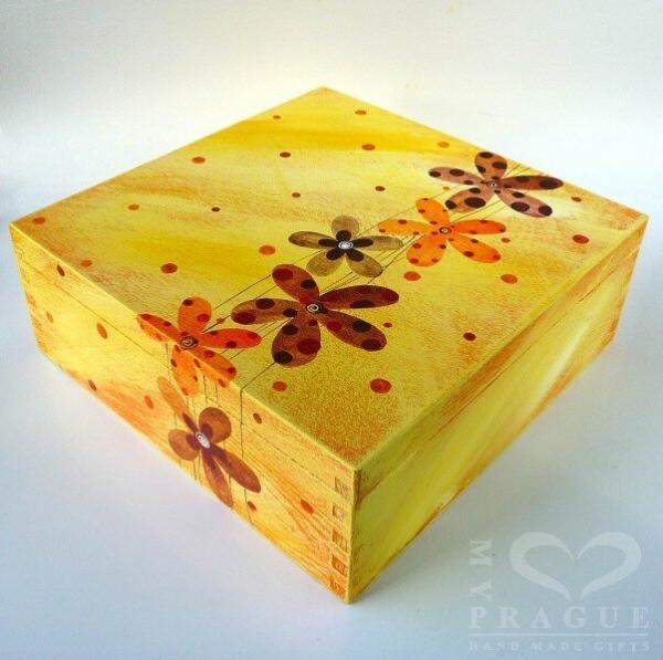 Krabice na čaj velká – žlutá – květy