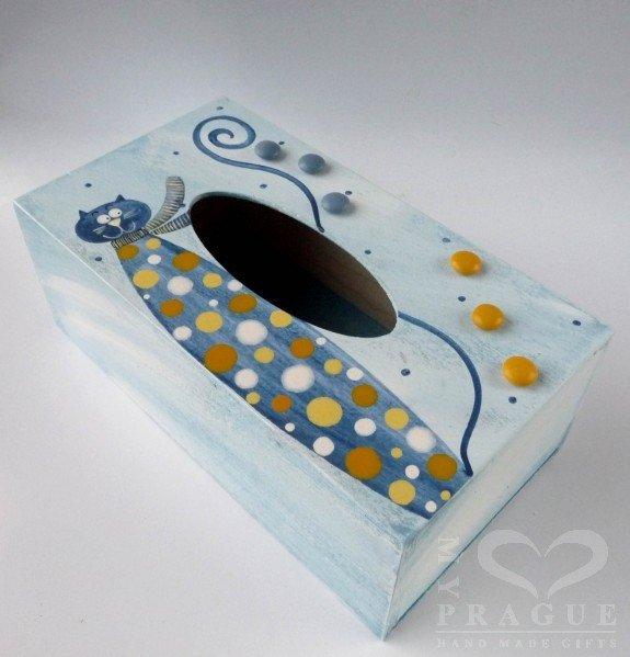 Krabice na kapesníky – modrá – kocour