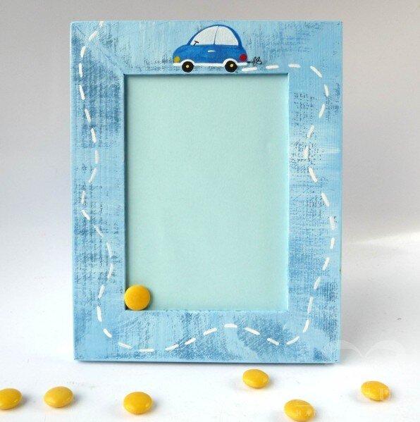 Rámeček na foto (S) – modrý – autíčko