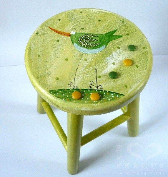 Dětská židlička – zelená – ptáček