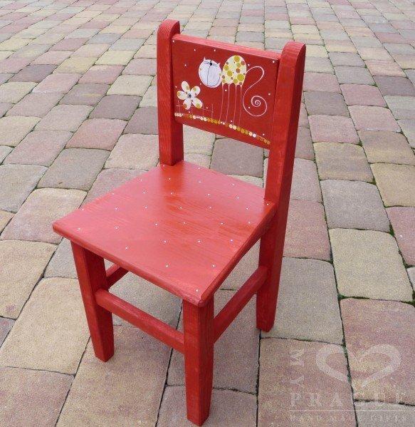 Židle s opěrkou – červená – kočka