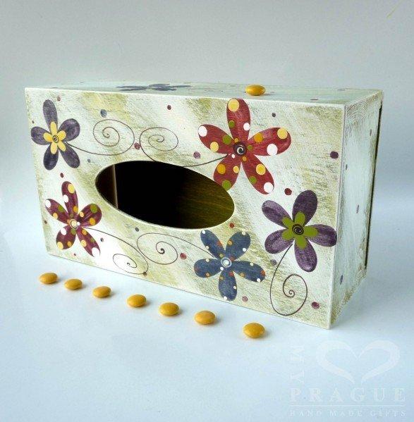 Krabice na kapesníky – zelenobílá – kytky