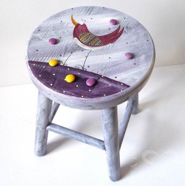 Dětská židlička – fialová – ptáček