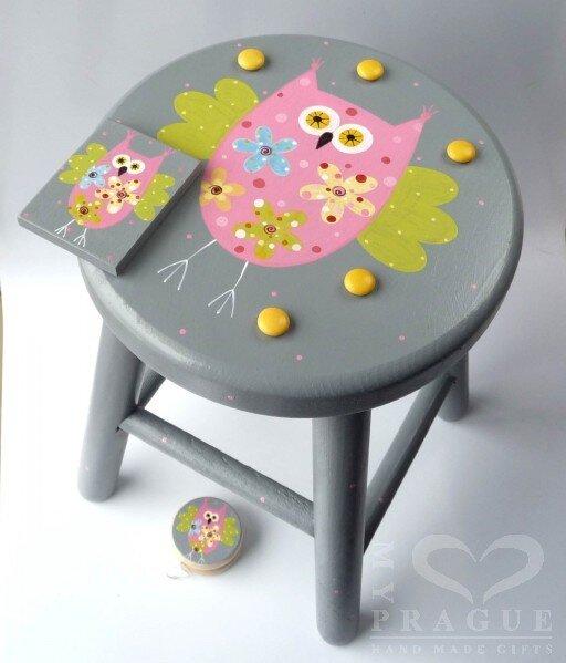 Dětská židlička – šedá – sova