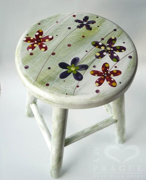 Dětská židlička – zelená – květy