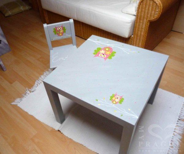 Dětský stůl – šedý – sova