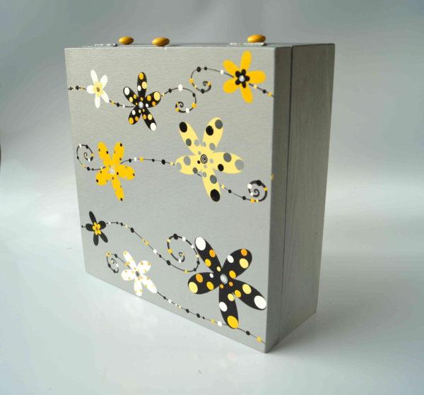 Krabice na čaj velká – šedá – květy
