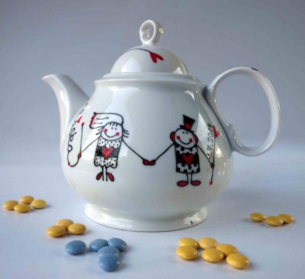 Konvice na čaj – svatební – nevěsta a ženich