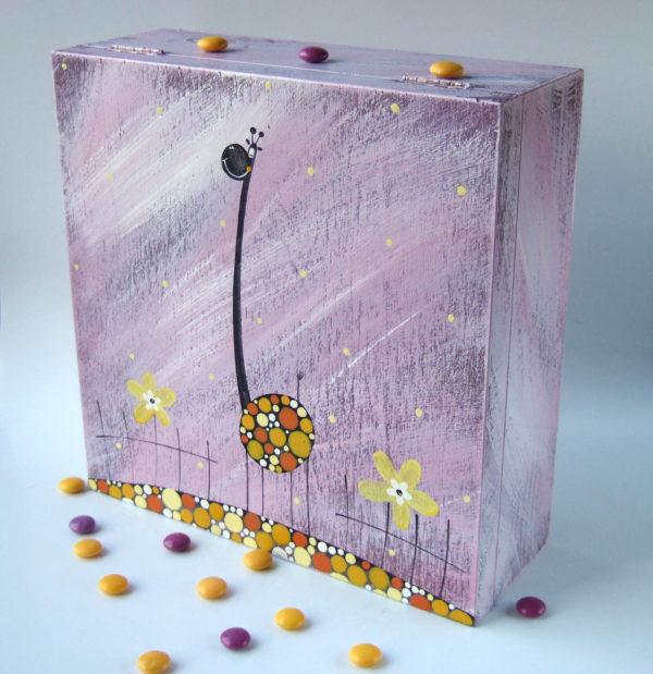 Krabice na čaj velká – fialová – žirafa