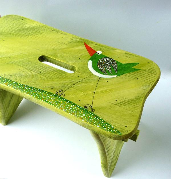 Stolička – zelená – ptáček