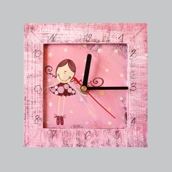 Hodiny malé – růžové – holčička