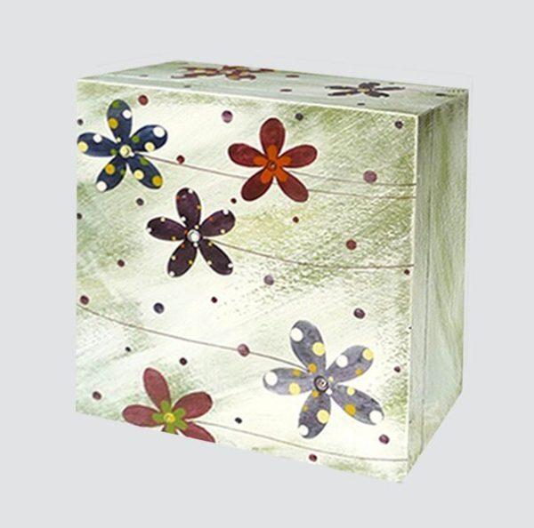 Krabice na čaj velká – zelená – květy