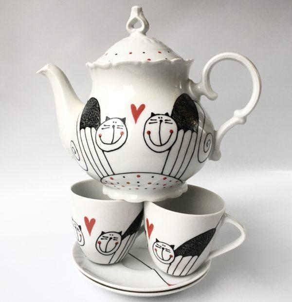 Čajový set – zamilované kočky