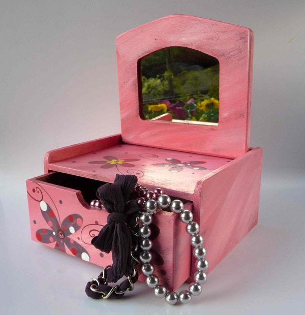 Šperkovnice se zrcadlem – růžová – květy