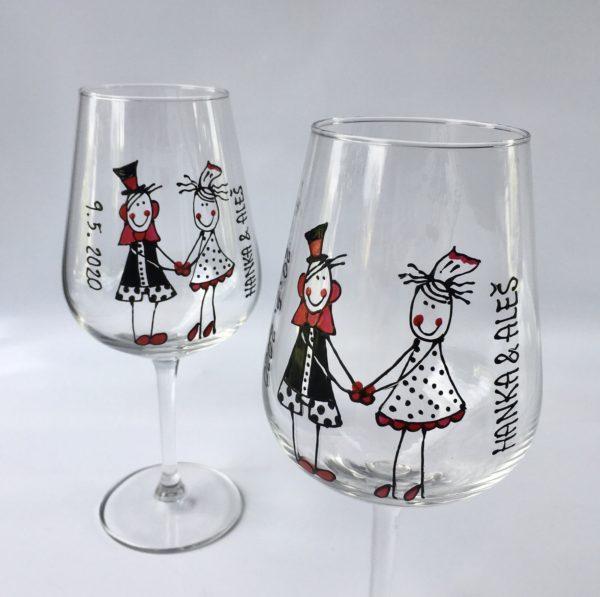 Sada dvou sklenic na víno – svatební