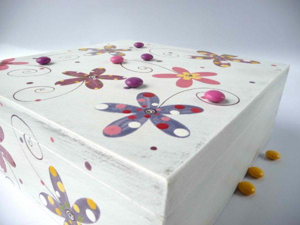 Krabice na čaj velká – bílá – květy